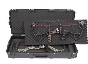 a picture of the best bow case on the market with great storage and design. It is a black bow case shown with a compound bow inside it.