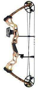 A picture of a compound bow on a white background
