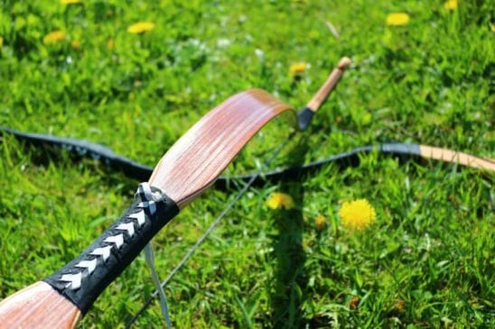 A picture of a unstrung recurve bow. This is the proper way to maintain your wooden recurve bow.