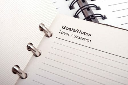 "a picture of a white piece of paper that says ""goals"""