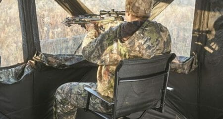 Man sitting on best hunting blind chair