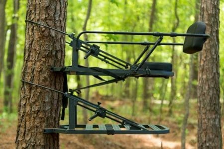 This is the best climbing tree stand in the woods