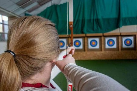 woman aiming her target